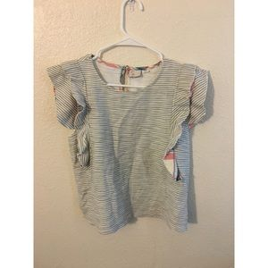 Anthropologie Postmark Striped Flutter Top